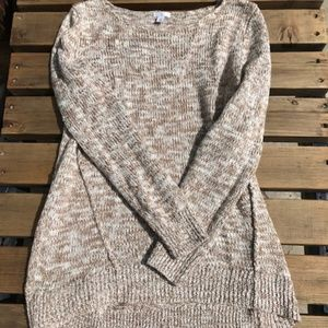 NORDSTROM BP KNIT SWEATER, CREAM AND TAN, LARGE